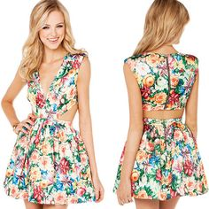 Sexy Deep V-neck Hollow Out High Waist Sleeveless Floral Print Dress [gyxh0824]