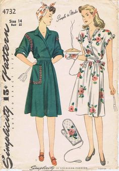 Misses House Dress Pattern and Oven Mitt Pattern Size 16 Bust 32 Simplicity 4731 Vintage Sewing Pattern Vintage Dress Patterns, Clothing Patterns, Vintage Dresses, Vintage Outfits, Vintage Clothing, 1940s Fashion, Vintage Fashion, Looks Black, Simplicity Sewing Patterns