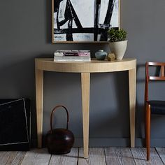 Alice Demilune Console #WestElm for inspiration only: demi lune would be great for the foyer.