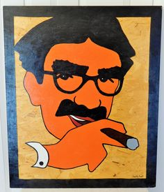 Groucho Marx Pop Art Painting by Charles Hall (1888 - 1970) Hollywood Signed Acrylic on Board - pinned by pin4etsy.com