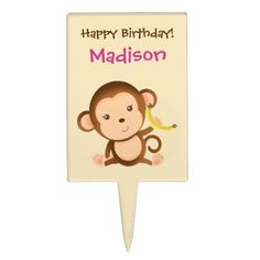 Going Bananas Cute Monkey Cake Pick by LilRascalsPartyFavor Cake Picks, Cute Monkey, Thank You Stickers, Baby Pillows, Baby Shirts, Baby Shower Cakes, 4th Birthday, Bananas, Cake Toppers