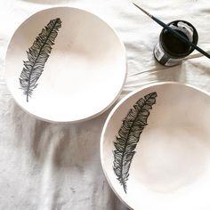 Handpainted feathers  #feather #handmade #ceramics