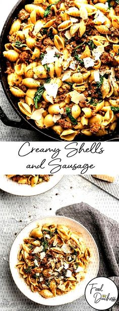 #weeknight #alongside #delicious #reduction #shallots #creating #sausage #italian #spinach #mi... Sausage Recipes For Dinner, Italian Sausage Pasta, Italian Cooking, Paella, Spinach, Fries, Curry, Beef, Meals