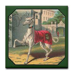 Greyhound art tile Greyhound Art, Italian Greyhound, Lurcher, Animal Illustrations, Doggy Stuff, Whippets, Dog Paintings, Old Dogs, Tile Art