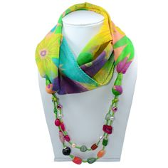 Silvesto India Multi Color Flower Printed Beaded Scarf Necklace Jewelry PG-7642   https://www.amazon.co.uk/dp/B01E6W2AS2