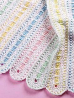 The On Parade Afghan is created with strips of pastel colors running through a white background. It's the perfect gift for your favorite infant. Skill Level: Intermediate