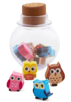 Owl New Ideas Eraser Set. Your best idea is easily found with this adorable eraser set! #multi #modcloth