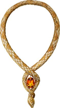 "CARTIER. ""Serpendor"" Necklace - yellow gold, one 41.99-carat cushion-shaped topaz, one 0.77-carat fancy yellowish brown SI1 type IIa pear-shaped rose-cut diamond, one 0.41-carat fancy deep brown SI1 pear-shaped rose-cut diamond, brown, orange and white brilliant-cut diamonds. #Cartier #ÉtourdissantCartier #2015 #HauteJoaillerie #HighJewellery #FineJewelry #Topaz #ColoredDiamond #Diamond"