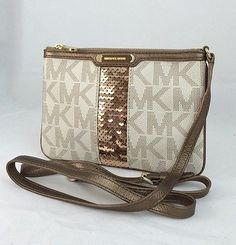 Michael Kors Giftable Vanilla PVC Leather Trim Crossbody Bag $98.00 IG0424