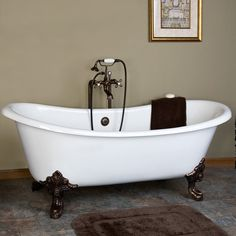 73' Baldwin Cast Iron Double Slipper Tub (Oil Rubbed Bronze Monarch Feet / No Tap Holes)- Code 110722