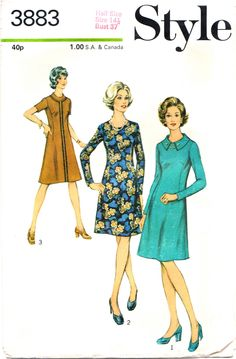 """70s Dress Vintage Sewing Pattern Style 3883 Bust 37"""" by stumbleupon on Etsy"""
