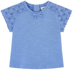 T-shirt flammé avec broderie anglaise - 173555