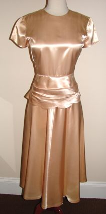 Vintage Virtuosa, 1940's Slipper Satin Peplum Waist Dress.
