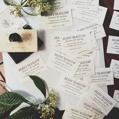 Stamped business cards (mary maslow flowers)