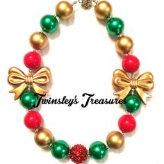 Christmas Necklace  Red Green and Gold by TwinsleysTreasures