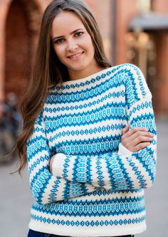 Retro genser og jakke pattern by Dale Design Knitting Projects, Knitting Patterns, Crochet Patterns, Free Knitting, Norwegian Knitting, Weaving Yarn, Fair Isle Knitting, Free Pattern, Knit Crochet