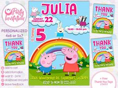 Items Similar To Peppa Pig Invitation Free Thank You Tags Birthday Party Printables Card Digital Invite On
