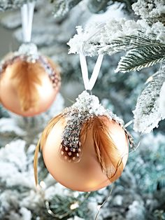 Six Feathered Glass Baubles - Copper  |  Cox & Cox