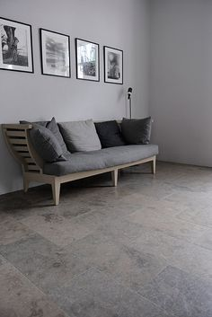Limestone floor from Stiltje Limestone Flooring, Grey Flooring, Kitchen Flooring, Floors, Hallway Inspiration, Interior Inspiration, Conservatory Flooring, Home Hacks, Home Remodeling