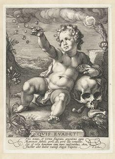 Hendrick Goltzius   Homo bulla, Hendrick Goltzius, 1594   Putto geleund tegen een schedel. In z'n rechterhand een pijpje waarmee hij bellen heeft geblazen, in z'n linkerhand een schelp, achter hem een vaatje waaruit rook opstijgt. Onderin de voorstelling de woorden 'Quis evadet?' en onder de voorstelling vier regels Latijn.