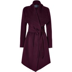 DONNA KARAN Cashmere Belted Coat in Claret ($2,982) ❤ liked on Polyvore featuring outerwear, coats, coats & jackets, jackets, drape coat, belted coat, donna karan coats, cashmere coat and slim fit coat