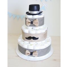 Mustache Diaper Cake for Baby Boy / Little Man by AngAngBabyUS
