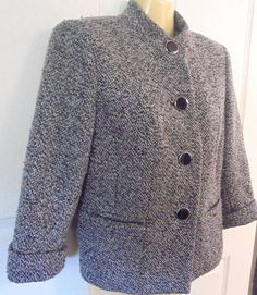 JM Collection Petite Tweed Jacket with Cuffed Sleeves Polyester/Wool Dressy #JMCollectionPetite #TweedJacket