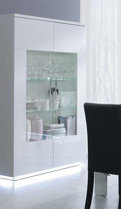 Argentier-vaisselier 2 portes design laqué blanc DELPHIA, avec éclairage LED