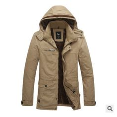 Sayhi Mens Military Outside Hooded Parkas Cargo Trench Coat Quilted Down Jacket