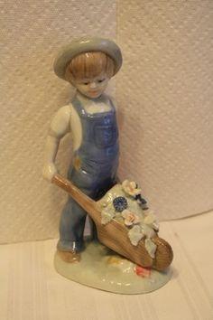 "Porcelain boy figurine by Lenwile Ardalt Artware measures approx: 8"" x 4"" x 3"" sticker on bottom #1-3560 #2 hand made $15.50"