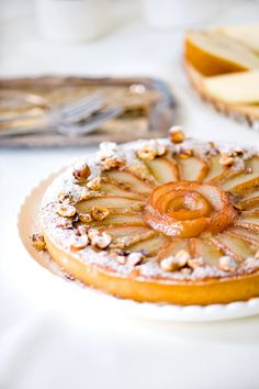 Cassis Pear Hazelnut Tart - pears boiled in blackcurrant cassis ...