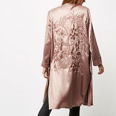 Pink embroidered duster jacket $130.00