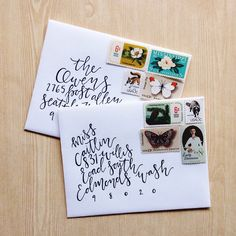 Letter writing and pretty stamps. Envelope Lettering, Envelope Art, Envelope Design, Brush Lettering, Mail Art Envelopes, Addressing Envelopes, Letter Writing, Letter Art, Snail Mail Pen Pals