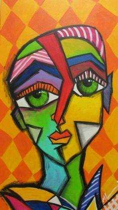 Mix of paintings - leni Portraits Cubistes, Cubist Portraits, Picasso Art, Picasso Paintings, Abstract Face Art, Cubist Art, Urbane Kunst, Cardboard Art, Arte Pop