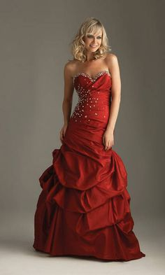 Wine Red Sheath Strapless Taffeta Ruffle Quinceanera Dress