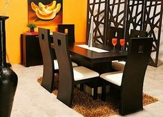 30 Comfort & Contemporary Brown Wood Tables With Chairs & Furniture - Decor Units Dining Room Furniture Design, Living Room Sofa Design, Dining Table Design, Dining Decor, Dining Table Chairs, Furniture Decor, Wood Tables, Dining Sets, Wooden Furniture