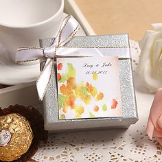 Personalized Silver Favor Box With White Bow (Set of 24) – USD $ 29.99