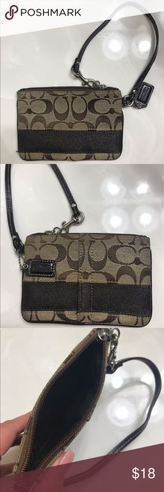 Coach Wristlet Coach Wristlet . Great for carrying with keys, can fit cash, credit cards, coins. Original coach print. *Used* Coach Bags Clutches & Wristlets