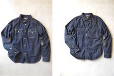 Pure blue japan vintage nep western and work shirts. Jean Shirts, Work Shirts, Denim Shirt, Indigo Clothing, Clothing And Textile, Hipster Jeans, Raw Denim, Vintage Outfits, Vintage Clothing
