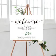 Printable Wedding Welcome Sign - Watercolor Eucalyptus Wedding BOHO Welcome Board - Calligraphy Wedding Invitation Set - Simple Wedding Sign by OnionSisterCreative on Etsy