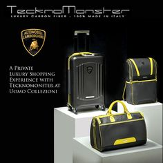 A Private Luxury Shopping Experience with TecknoMonster at Uomo Collezioni Singapore. The Italian supercar manufacturer Lamborghini has teamed up with luxury luggage company TecknoMonster to create a range of handcrafted carbon fibre suitcases, which is now exclusively available at Uomo Collezioni at Marina Bay Sands.