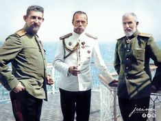 Prince Ferdinand of Romania, Tsar Nicholas II of Russia and King Carol I of Romania in Constanta, Romania during the last visit abroad for the Romanov family, 1914 (colorized) Tsar Nicolas Ii, Tsar Nicholas, Romanian Royal Family, Royal Photography, Bathing Costumes, Military Pictures, Team Wear, Imperial Russia, Ferdinand
