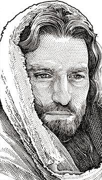 Wall Street Journal portrait (hedcut) of Jim Caviezel
