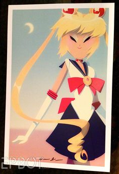 Sailor Moon by Drew Green, signed 11X17 print (Can't find it online; pls excuse the crappy cellphone pic!)