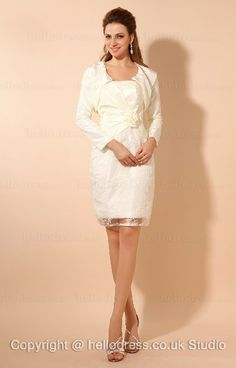 Strapless Neckline Lace And Satin Flower Short Mother Of The Bride Dress