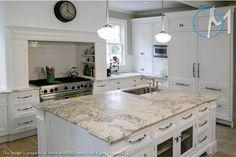 Charmant Honed Bianco Romano Granite White Kitchen