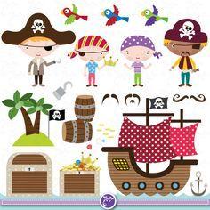 Pirata lindo Clipart Clip Art Set pirata por YenzArtHaut en Etsy