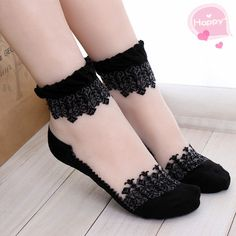 Women's socks, it is like a bud silk lace, leisure socks of transparent cute socks.Nylon Ankle Socks Hosiery