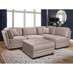Leyla Fabric Modular Sectional Living Room Set FabricTaupe Corner Armless  Chairs And 1 Ottomanby Abbyson