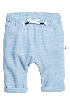 H&M - 14.99€ --- Katoenen pull-on broek - Lichtblauw gemêleerd - KINDEREN   H&M BE 1